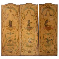 19th Century Italian Hand-Painted Folding Screen with Musical Monkeys
