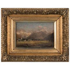 Antique 19th Century Landscape Oil Painting of a European Village and Mountains