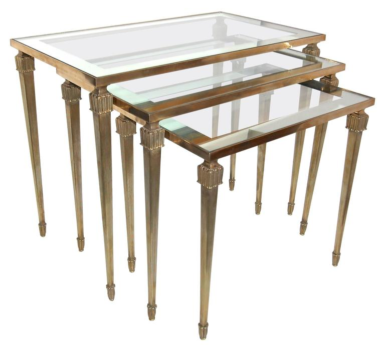8c458c638b4ed Trio of Maison Jansen French Brass Nesting Tables For Sale at 1stdibs