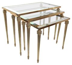 Trio of Maison Jansen French Brass Nesting Tables
