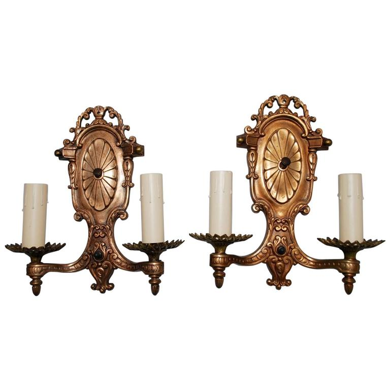Elegant Pair of 1920s Bronze Sconces For Sale
