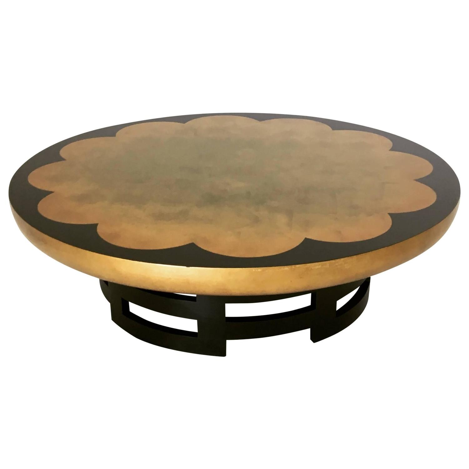 Gold Leaf Lotus Coffee Table by Muller and Barringer for Kittinger
