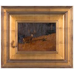 Luke Frazier Original Landscape Oil Painting with a Mule Deer