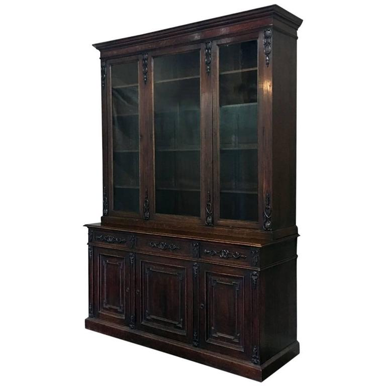 19th Century Grand French Renaissance Hand-Crafted & Carved Bookcase, ca. 1870s