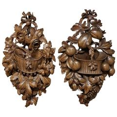Pair of 19th Century Black Forest Wall Carvings Plaques