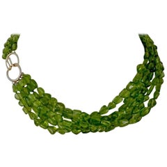 Five Strand Peridot Beaded Necklace with 14-Karat Gold Clasp