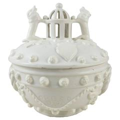 French White Faience Basket with Dogs