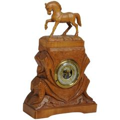 20th Century German Hand-Carved Beechwood Equine Barometer