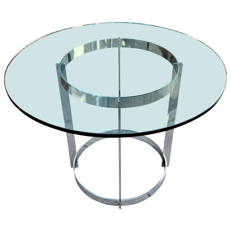 Milo Baughman Chrome and Glass Round Dining Table by Thayer Coggin For Sale