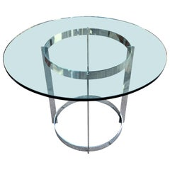 Chrome and Glass Round Dining Table by Tri-Mark
