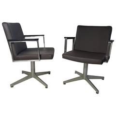 Aluminum and Leather Good Form Armchairs, Modernist, Machine Age
