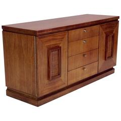 Mahogany and Rattan Sideboard by Merton L. Gershun in Excellent Condition