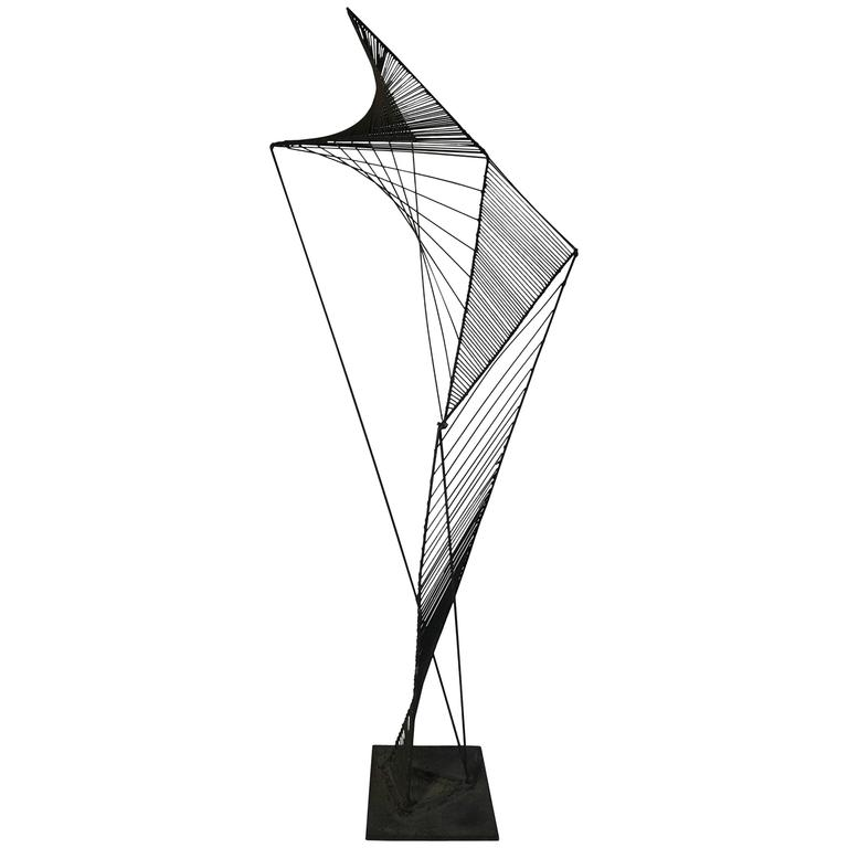 Modern Abstract Architectural Wire Iron Sculpture Manner of Roy Gussow