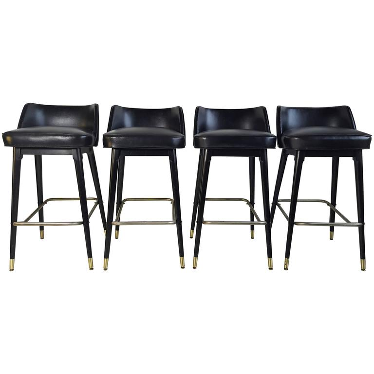 Set Of Four Classic 1960s Bar Counter Stools By Shelby