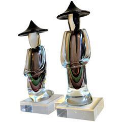 Pair of Murano Sommerso Chinese Men Glass Figurines by Luigi Onesto