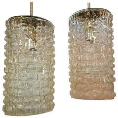 Cubist Style Glass Pendant Lights Pair