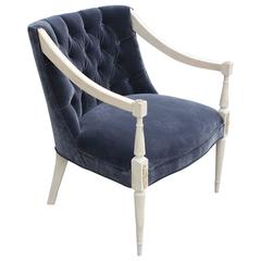 Modern Bleached Wood and Tufted Grey Velvet French Lounge Chair