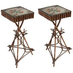 Painted Folk Style Twig Side Tables