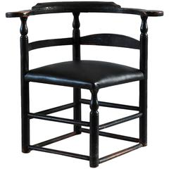 Black Painted Corner Chair Upholstered in Black Leather