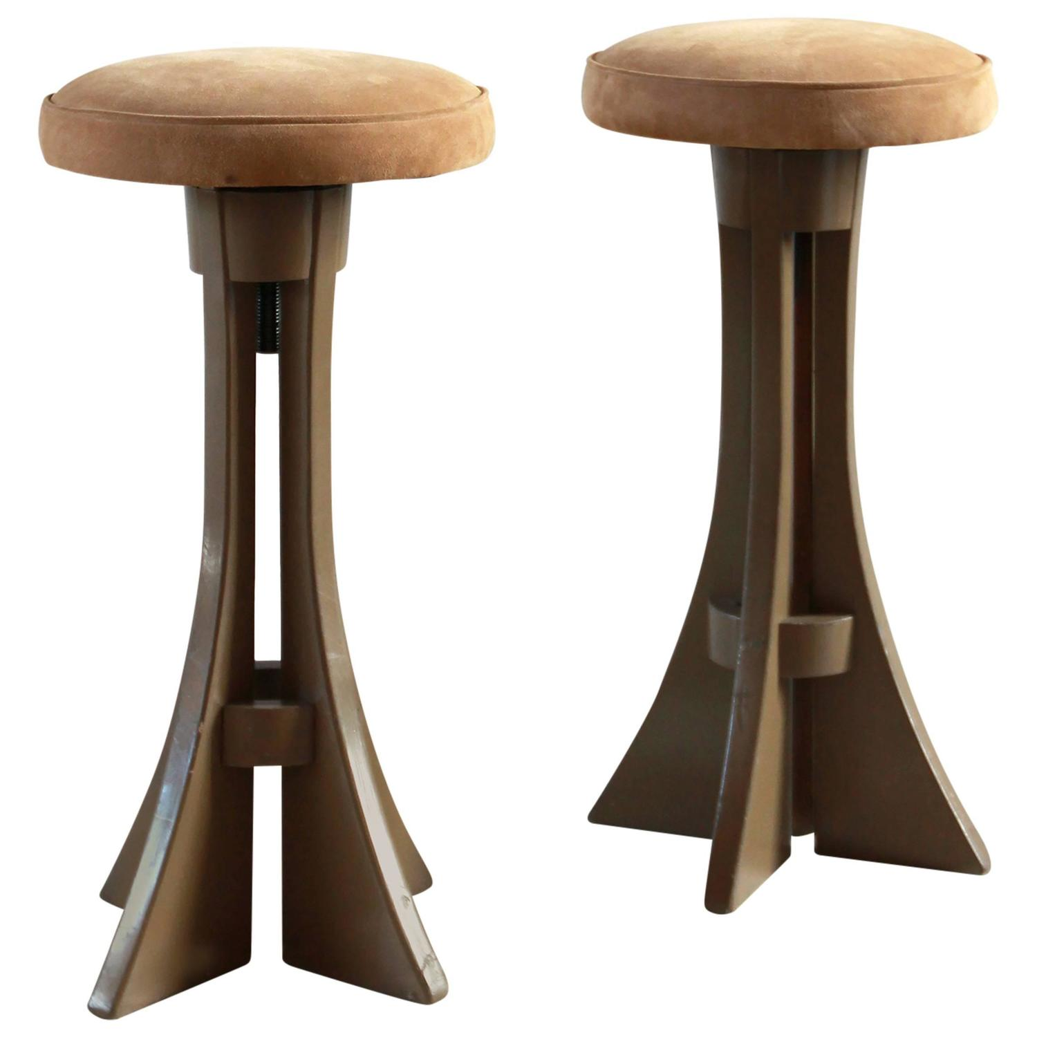 Brown Painted Stools With Suede Seat Cushion For Sale At