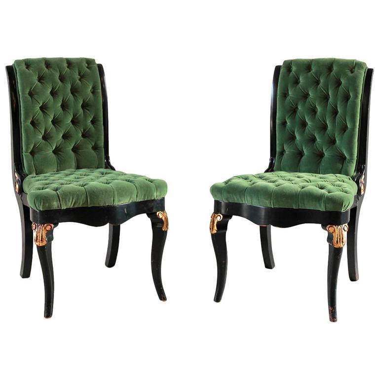 Black And Gold Painted Regency Chair Upholstered In Green Velvet 1