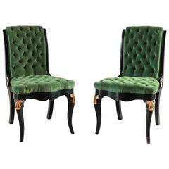 Black and Gold Painted Regency Chair Upholstered in Green Velvet
