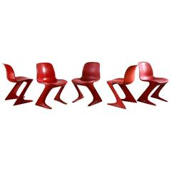 Set of Five Franz Moeckl Style Painted Red Kangaroo Style Dining Chairs