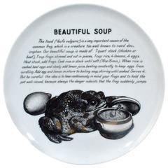 Vintage Piero Fornasetti Porcelain Recipe Plate, Beautiful Soup