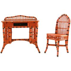 Orange and Black Painted Wicker Vanity Set