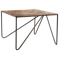Rustic Perforated Metal Side Table with Angled Legs