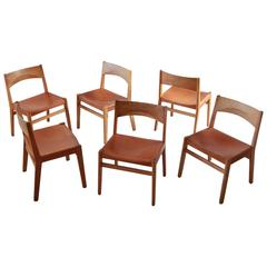 Set of Six Oak and Leather Dining Chairs