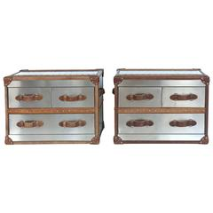 20th Century Timothy Oulton Trunk Nightstands, Pair