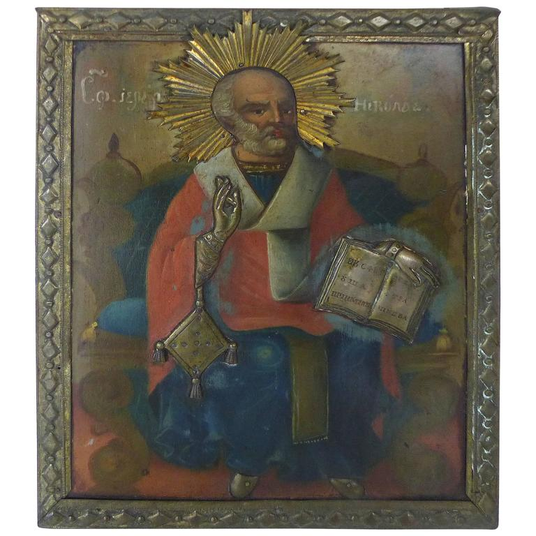 Turn of the Last Century Russian Icon in Oil on Wood with Metal