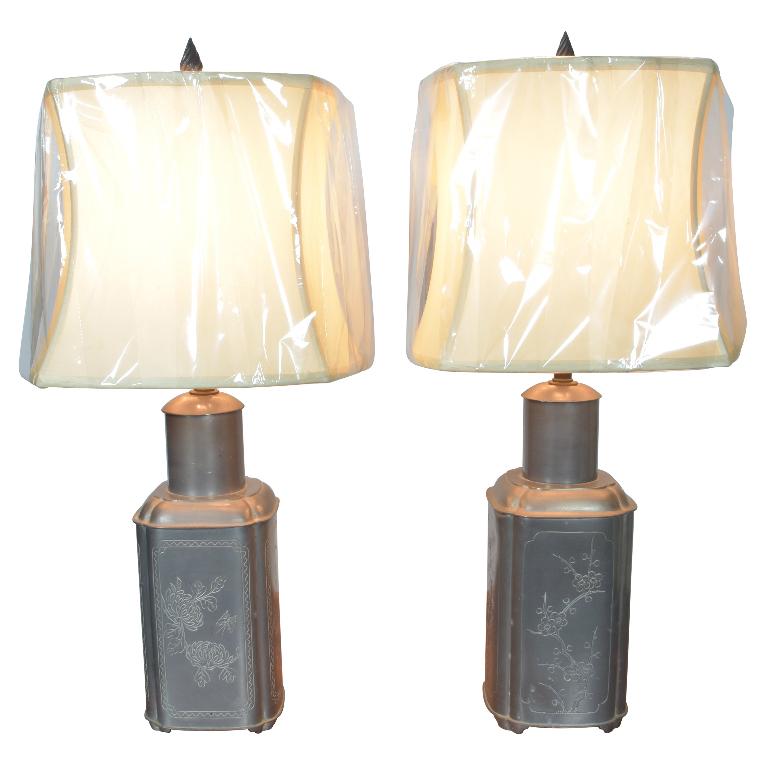 Pair of Chinese Pewter Lamps