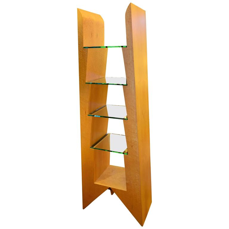 Modern Birdseye Maple and Glass Bookcase 1