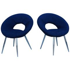 1970s French Chrome Saucer Chairs