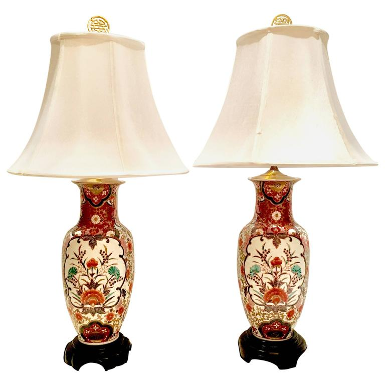 Pair Of Hand Painted Porcelain Imari Vase Table Lamps For Sale