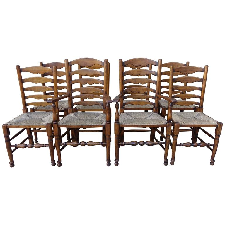 Set of eight english ladder back dining chairs for sale at 1stdibs - Ladder back dining room chairs ...