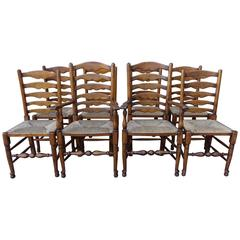 Set of Eight English Ladder Back Dining Chairs