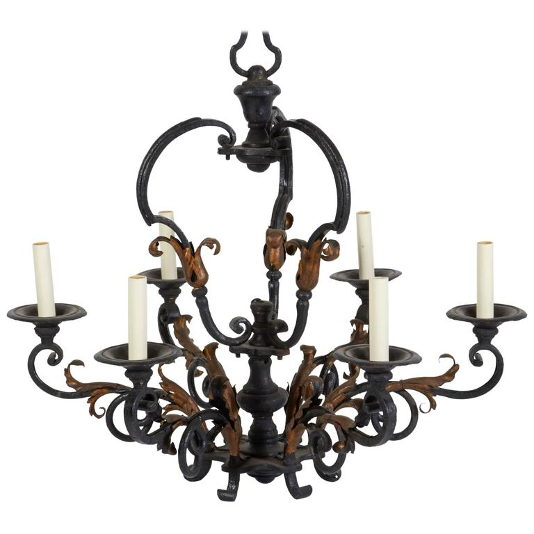 Louis XV Iron and Gilt Six-Light Chandelier For Sale
