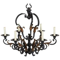 Louis XV Iron and Gilt Six-Light Chandelier
