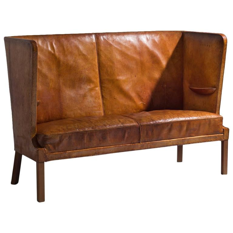 Frits Henningsen Early High Backed Sofa In Original Cognac Leather For
