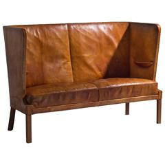 Frits Henningsen Early High Backed Sofa in Original Cognac Leather