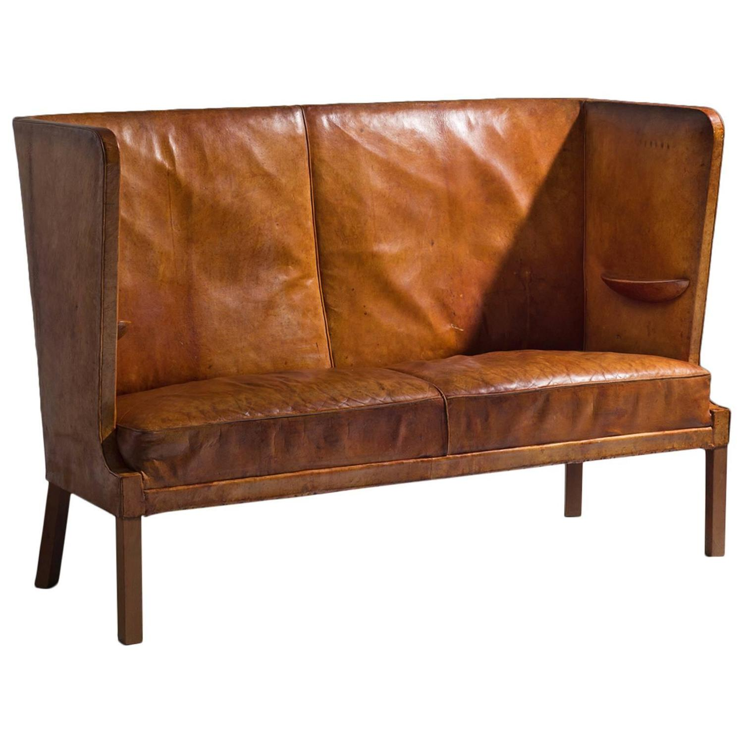 frits henningsen early high backed sofa in original cognac leather for sale at 1stdibs. Black Bedroom Furniture Sets. Home Design Ideas