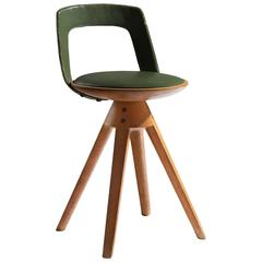 Edvard & Tove Kindt-Larsen Swivel Stool in Bright Green Leather