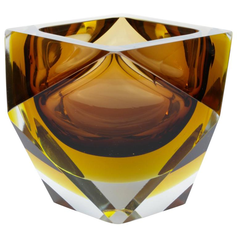 Monumental And Huge Italian Diamond Cut Faceted Murano Glass Bowl By