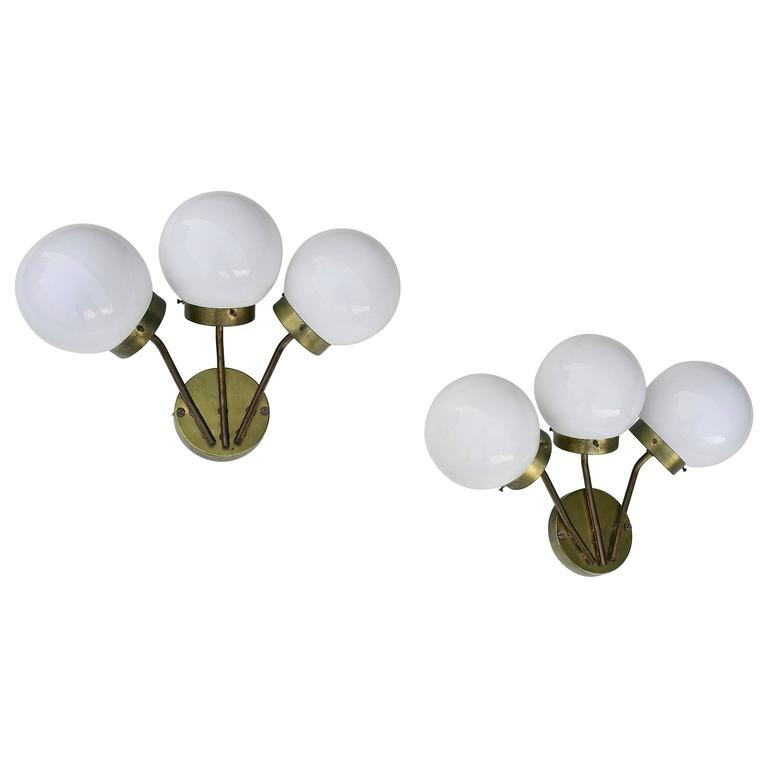 Pair of Wall Lamps in Brass with Opaline Glass Balls, attributed to Stilnovo