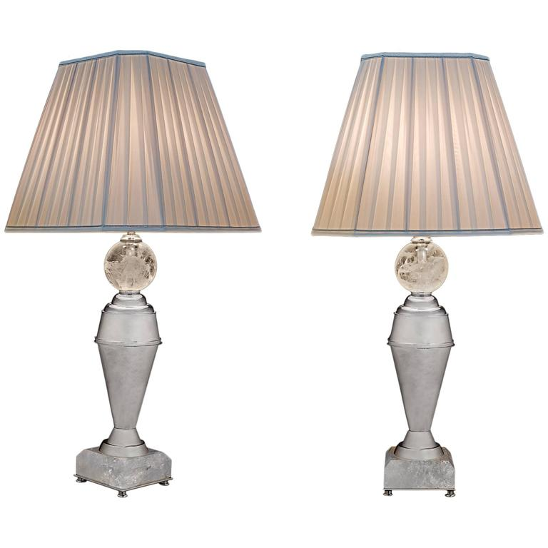 Rock Crystal Art Deco Pair of Lamps by Alexandre Vossion 1