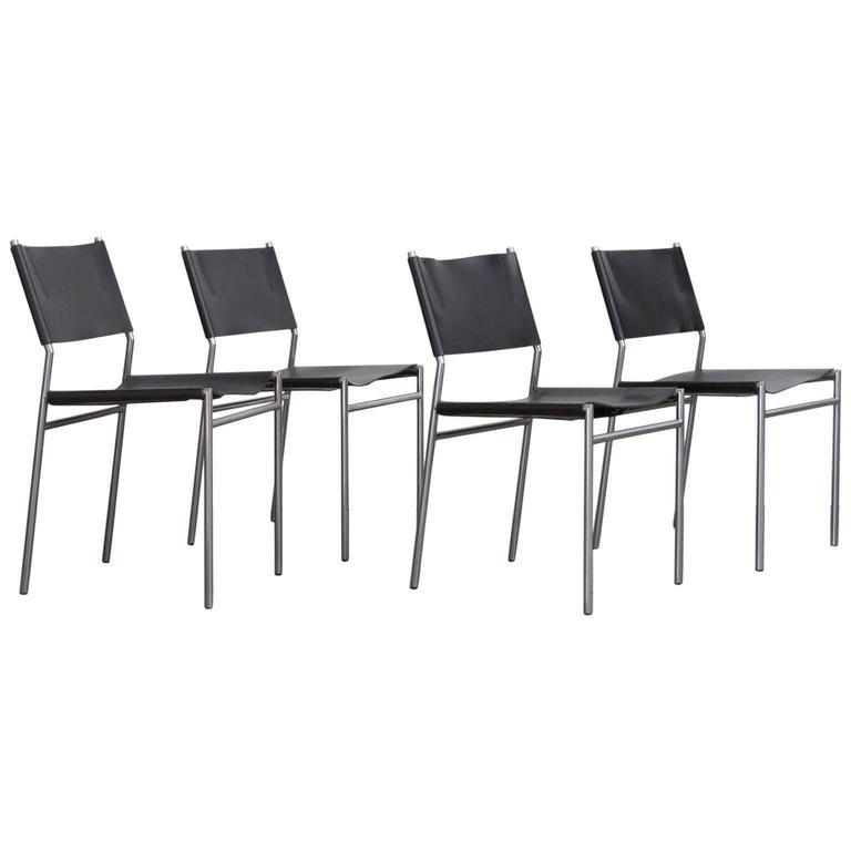1960, Martin Visser, Set Chairs SE 06 in Black Leather by Spectrum Holland