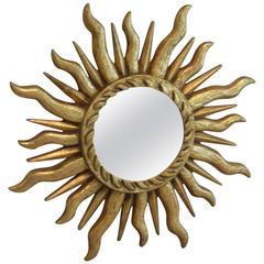 Gilded Sunburst Starburst Convex Mirror